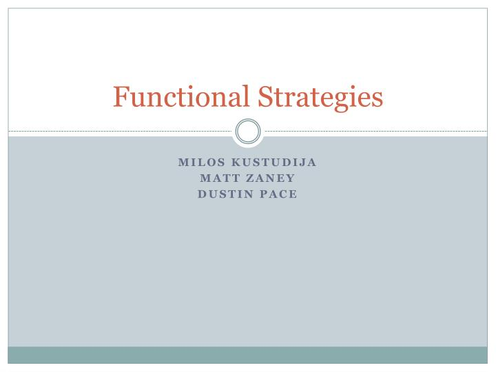functional strategies n.
