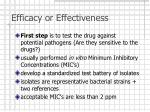 efficacy or effectiveness