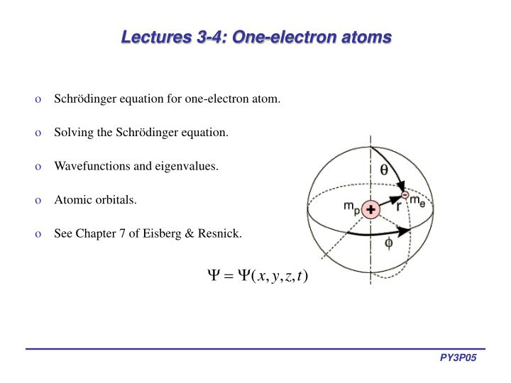 lectures 3 4 one electron atoms n.
