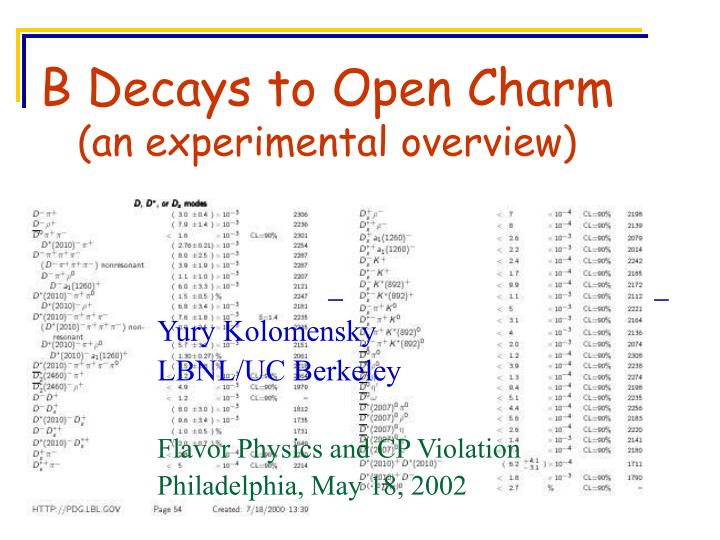 b decays to open charm an experimental overview n.