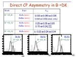 direct cp asymmetry in b g dk