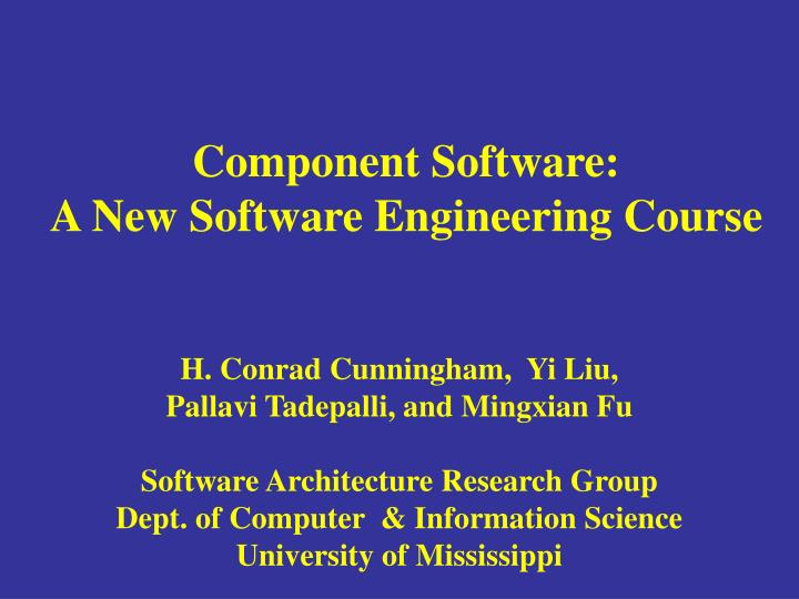 component software a new software engineering course n.