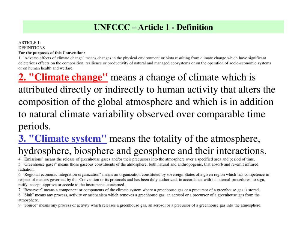 UNFCCC – Article 1 - Definition