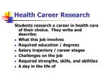 health career research