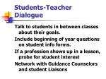 students teacher dialogue