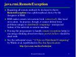 java rmi remoteexception