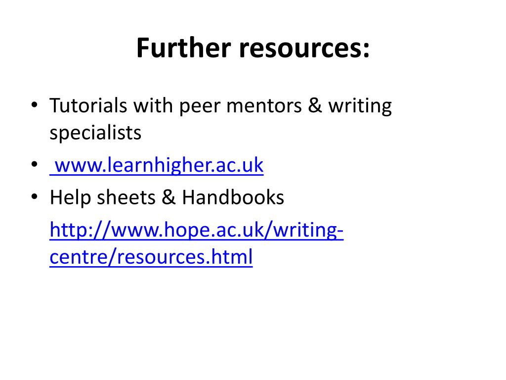 Further resources: