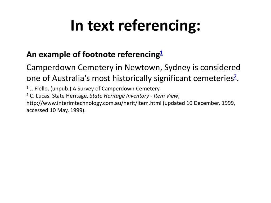 In text referencing: