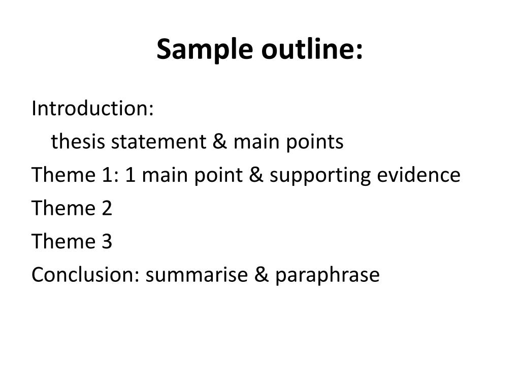 Sample outline: