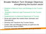 broader medium term strategic objectives strengthening the tourism sector