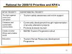 rational for 2009 10 priorities and kpa s