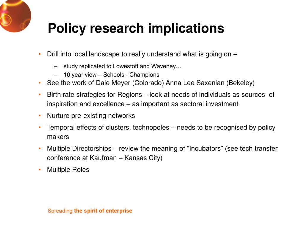 Policy research implications