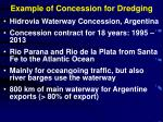example of concession for dredging