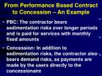from performance based contract to concession an example