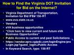 how to find the virginia dot invitation for bid on the internet