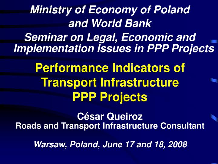 performance indicators of transport infrastructure ppp projects n.
