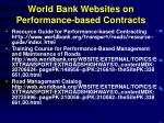 world bank websites on performance based contracts