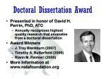 doctoral dissertation award