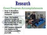 research grant program accomplishments