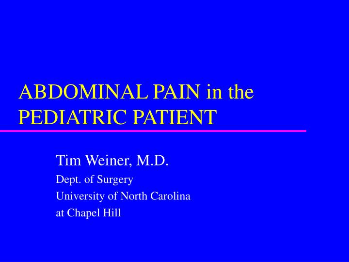 abdominal pain in the pediatric patient n.