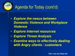 agenda for today cont d