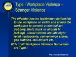 type i workplace violence stranger violence
