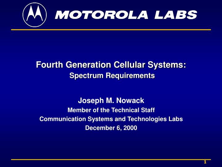 fourth generation cellular systems spectrum requirements n.