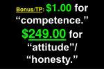 bonus tp 1 00 for competence 249 00 for attitude honesty