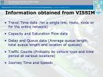information obtained from vissim