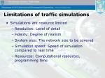 limitations of traffic simulations