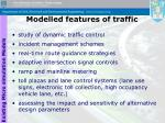 modelled features of traffic
