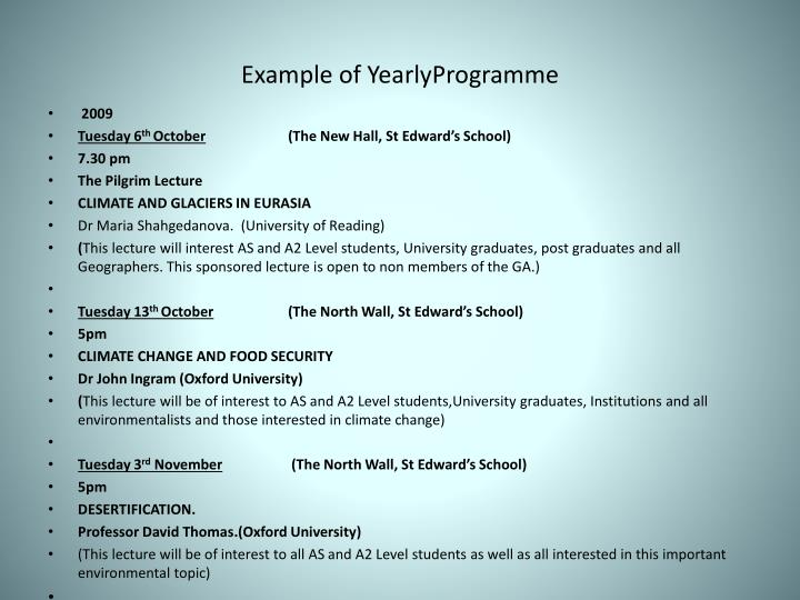 Example of yearlyprogramme