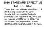 2010 standard effective dates doj