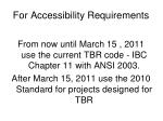 for accessibility requirements