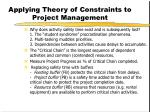 applying theory of constraints to project management