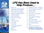 lfg has been used to help produce