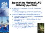 state of the national lfg industry april 2008