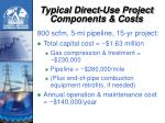 typical direct use project components costs