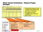 other factors evaluation kepner tregoe example