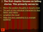 2 the first chapter focuses on telling stories this primarily serves to