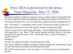 how aba is perceived in the press time magazine may 15 2006