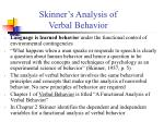 skinner s analysis of verbal behavior