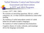 verbal stimulus control and intraverbal assessment and intervention in dtt and aba programs