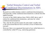 verbal stimulus control and verbal conditional discriminations in aba