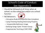 school s code of conduct see appendix d