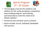 sports program 5 th 8 th grade