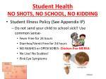 student health no shots no school no kidding