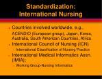 standardization international nursing