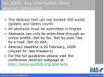 ias 2009 key information about abstract submission
