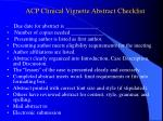 acp clinical vignette abstract checklist